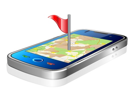 gps navigation: Smartphone con pantalla t�ctil con la navegaci�n GPS Vectores