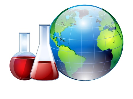 laboratory equipment: Laboratory glassware with reflections on table Illustration