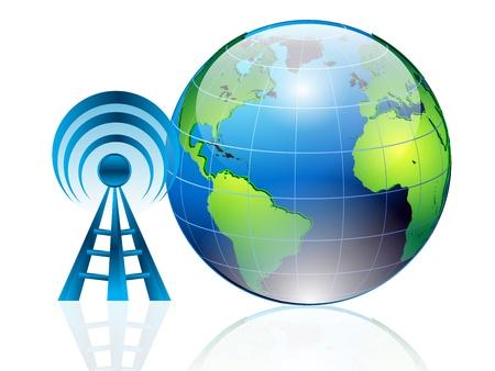 satelite: la ilustraci�n del mundo y la conectividad