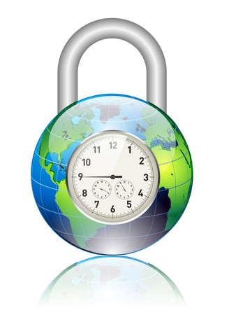 globe and padlock Stock Vector - 12448248