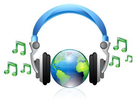 illustratie van de hoofdtelefoon en muziek iconen Vector Illustratie