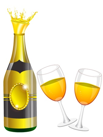 popping cork: Champagne bottle, glasses, cork Illustration