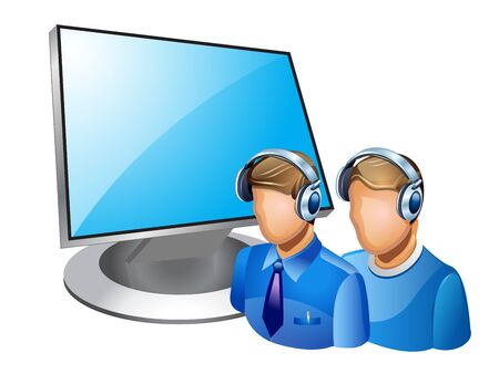 illustration of computer admin on white background