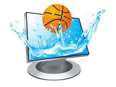 basketball jump in  the monitor Stock Vector - 12803101