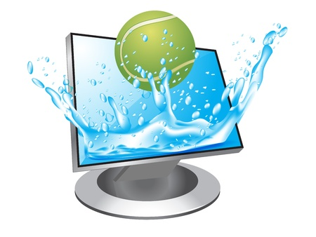 tennisballl jump in  the monitor Stock Vector - 12803100