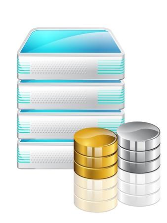 server: server di archiviazione di dati isolato su sfondo bianco