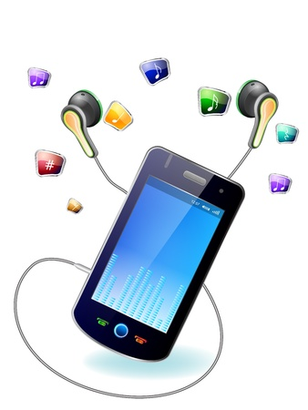 Mobile phone with headphones on white background Vector