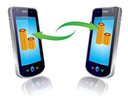 phone money: transferencia de dinero nuevo estilo elegante tel�fono m�vil Vectores