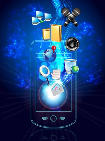 multimedia phone and icons Illustration