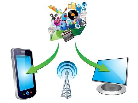 illustration of media transfer Stock Vector - 12803126