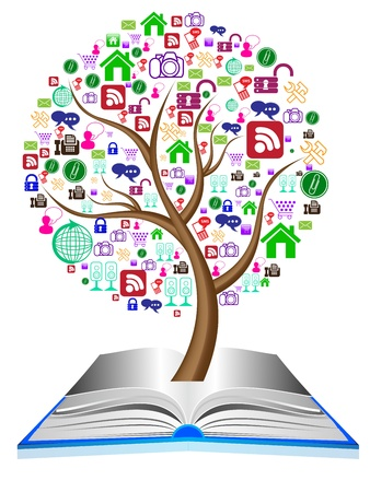 discussion forum: illustration of Social media icons set in tree shape Illustration