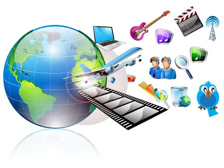 laptop has many objects projecting out of the world Stock Vector - 12803129
