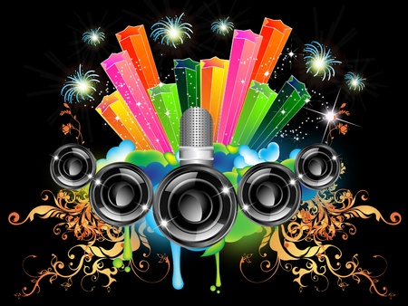 illustration for a musical theme with speakers Vector