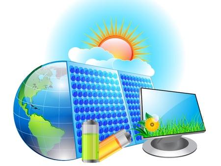 solar equipment: Solar panel charging a battery Illustration