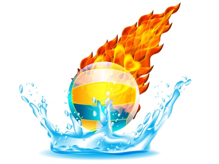 volleyballl Ball on Fire and Water Stock Vector - 12803148