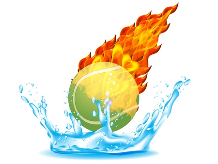 Tennis Ball on Fire and Water Vector