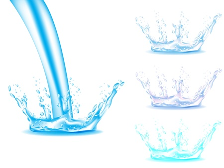 붓는 것: 블루 워터 스플래쉬 흰색 배경에 고립
