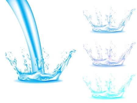 fresh water splash: blue water splash isoliert auf wei�em Hintergrund