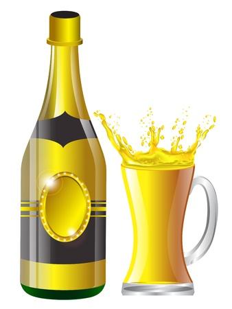 sektglas: Champagner-Flasche, Gläser Illustration