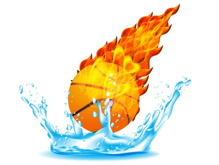 Basketball Ball on Fire and Water Stock Vector - 12803151