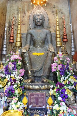 Ancient image buddha statue in Thailand Stock Photo