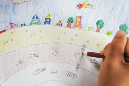 Child drawing  picture                Editorial
