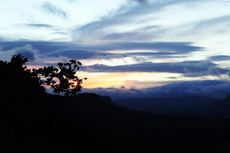 Sunset in Pha Taem National Park                photo