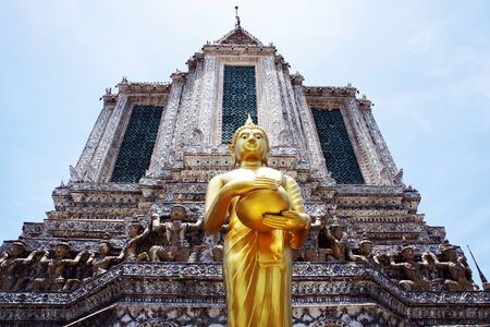 Buddha statues and pagodas photo