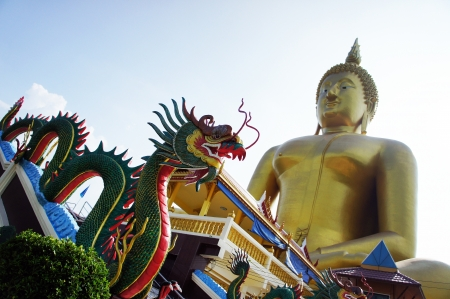 dragon and Buddha statue photo