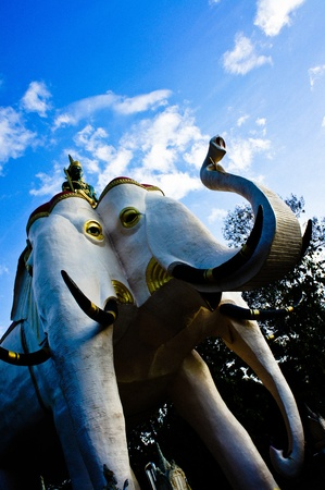 Lord Indra riding the elephant statue  photo
