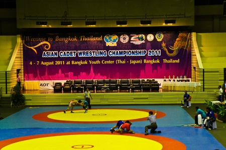 catch wrestling: Asian cadet  wrestling championship 2011, 4-7 August 2011 at Bangkok Youth Center Bangkok Thailand. Inside Asian cadet  wrestling championship 2011.