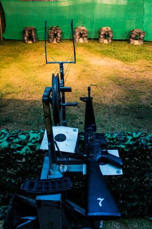 gun room: Indoor shooting Stock Photo