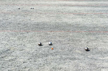 french boule: Petanque balls on the ground