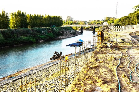 intake: Construction of a dam on a river