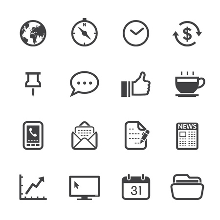Business Icons and Office Icons with White Background