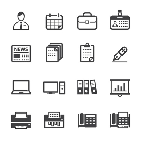 Business Icons and Office Icons with White Background Vector