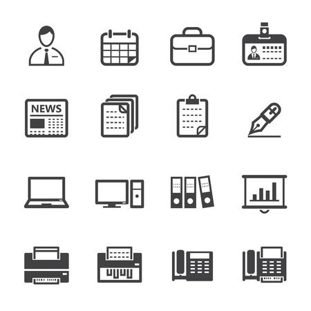 fotocopiadora: Iconos Iconos del asunto y de la oficina con el fondo blanco