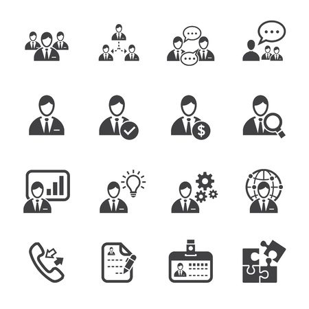 Management Icons and Human Resource Icons with White Background