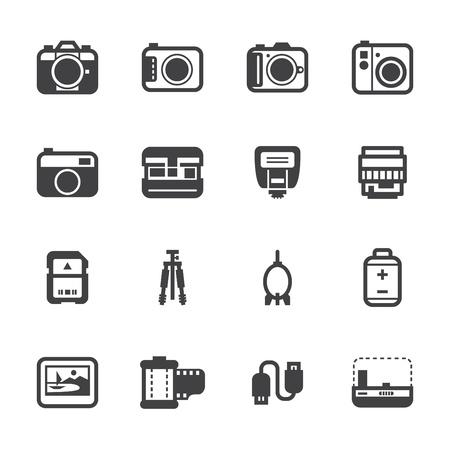 カメラ アイコンと白い背景を持つカメラ アクセサリーのアイコン