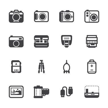 Camera Icons and Camera Accessories Icons with White Background Vector