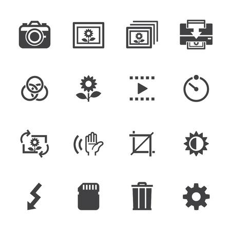 Fotografie pictogrammen en Camera Function Pictogrammen met witte achtergrond Stock Illustratie