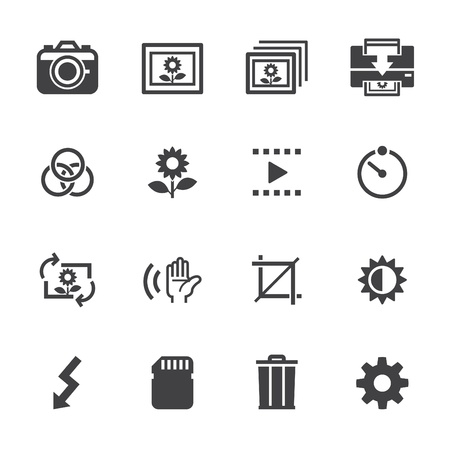 photo equipment: Photography icons and Camera Function Icons with White Background Illustration