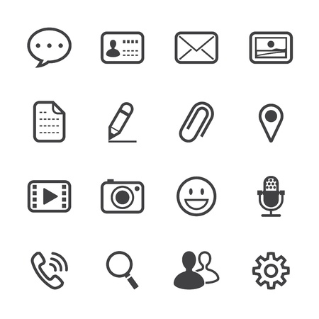 settings: Chat Application Icons with White Background Illustration