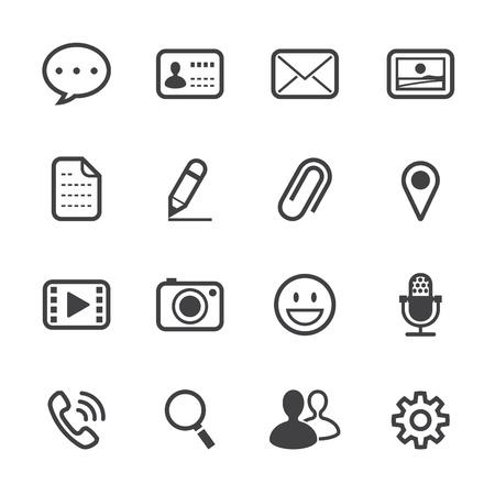 settings: Chatten Application Pictogrammen met witte achtergrond
