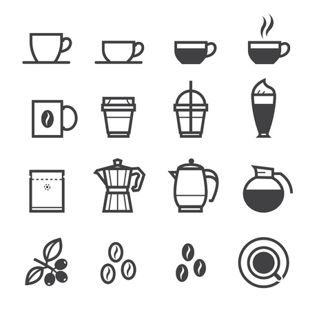 caffeine: Coffee icons and Coffee Shop with White Background
