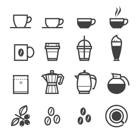 koffiebaal: Koffie iconen en Coffee Shop met een witte achtergrond