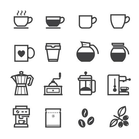 コーヒーのアイコンと白の背景を持つコーヒー ショップ 写真素材 - 20232741