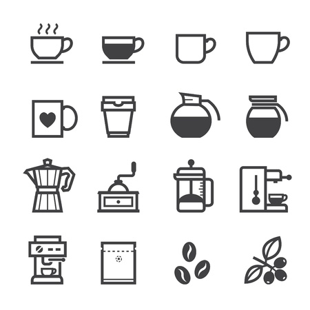 brewed: Coffee icons and Coffee Shop with White Background