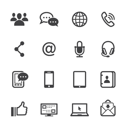 Communication Icons with White Background Vector