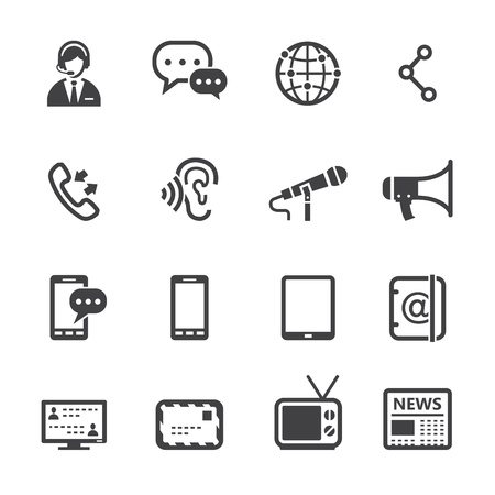 Communication Icons with White Background Illustration